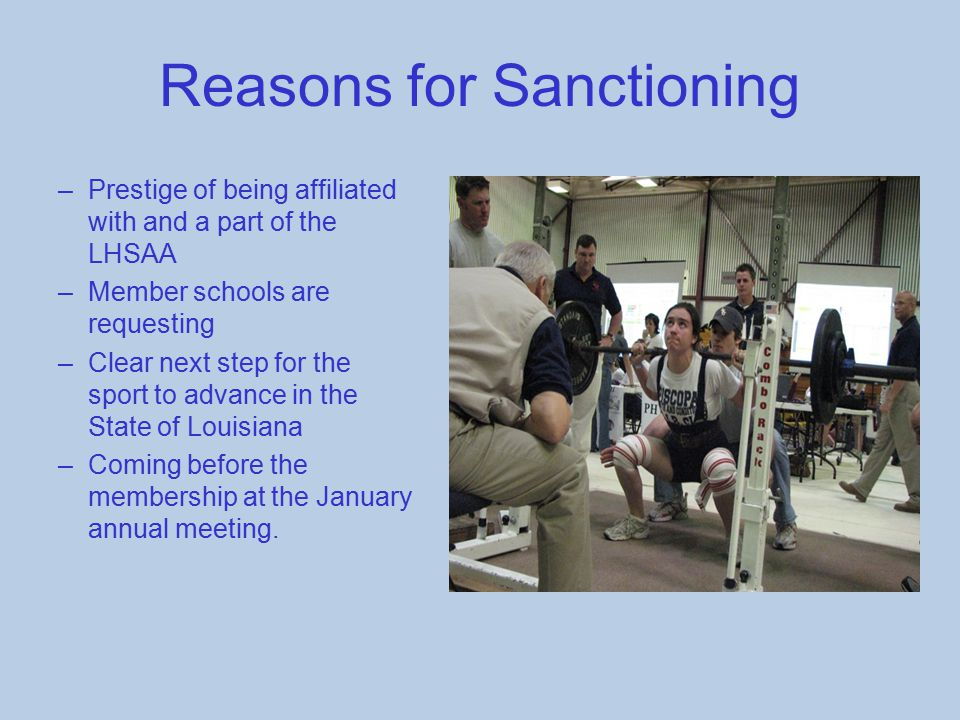 Reasons for Sanctioning