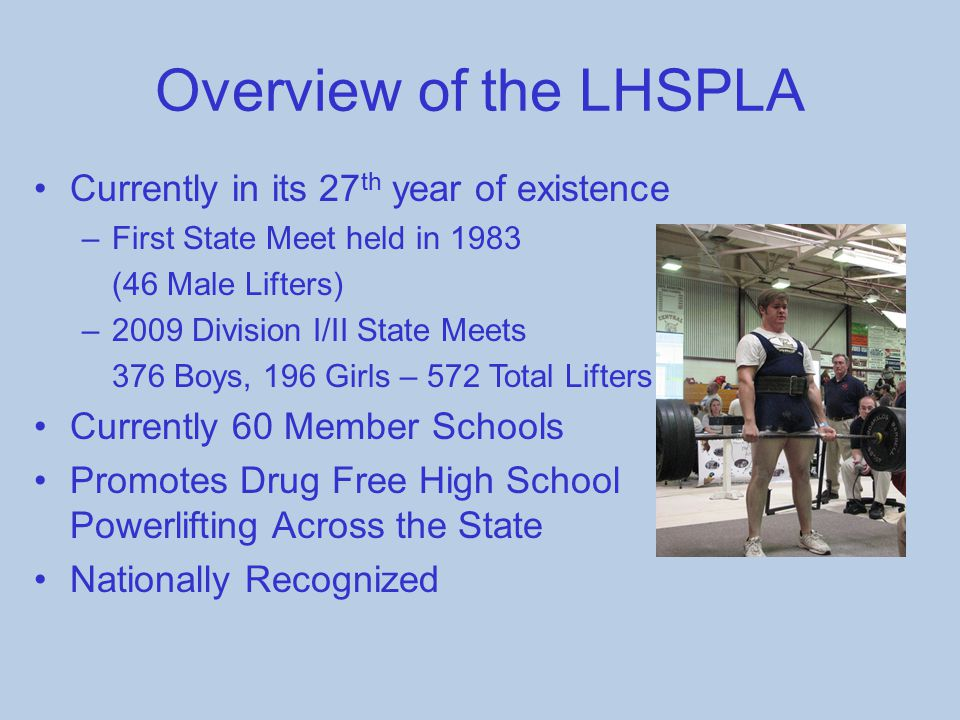 Overview of the LHSPLA Currently in its 27th year of existence