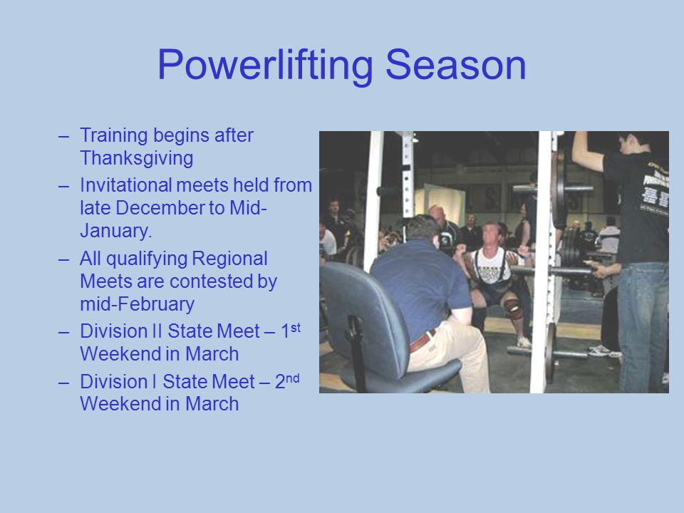 Powerlifting Season Training begins after Thanksgiving