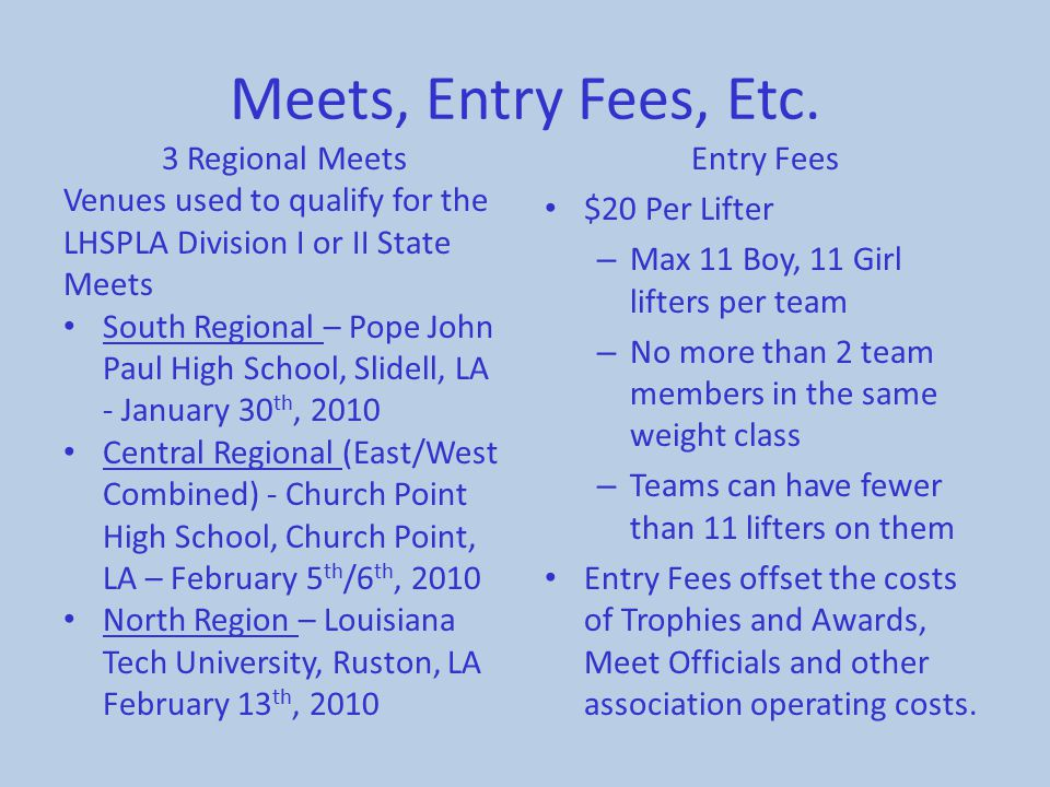 Meets, Entry Fees, Etc. 3 Regional Meets