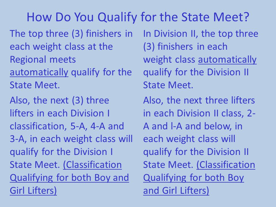 How Do You Qualify for the State Meet
