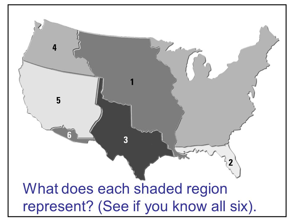 What does each shaded region represent (See if you know all six).