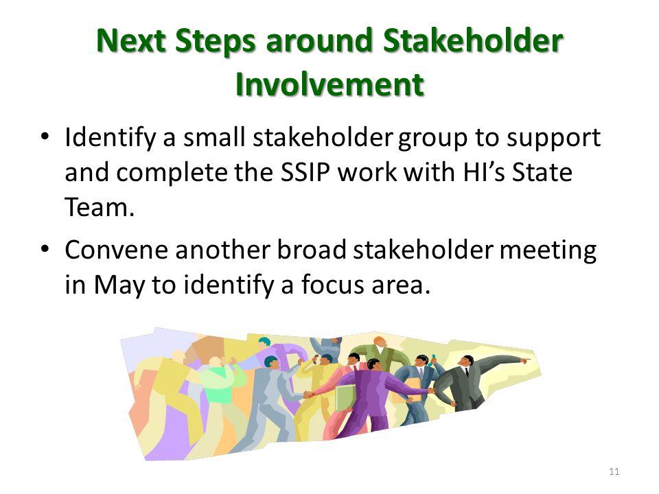 Next Steps around Stakeholder Involvement