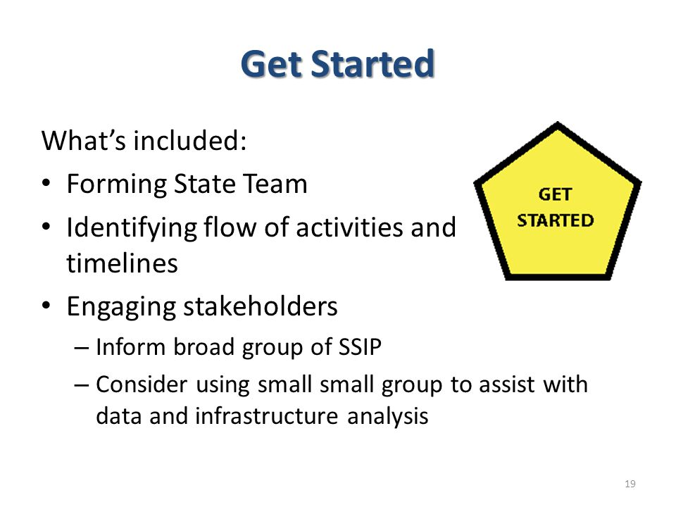 Get Started What's included: Forming State Team