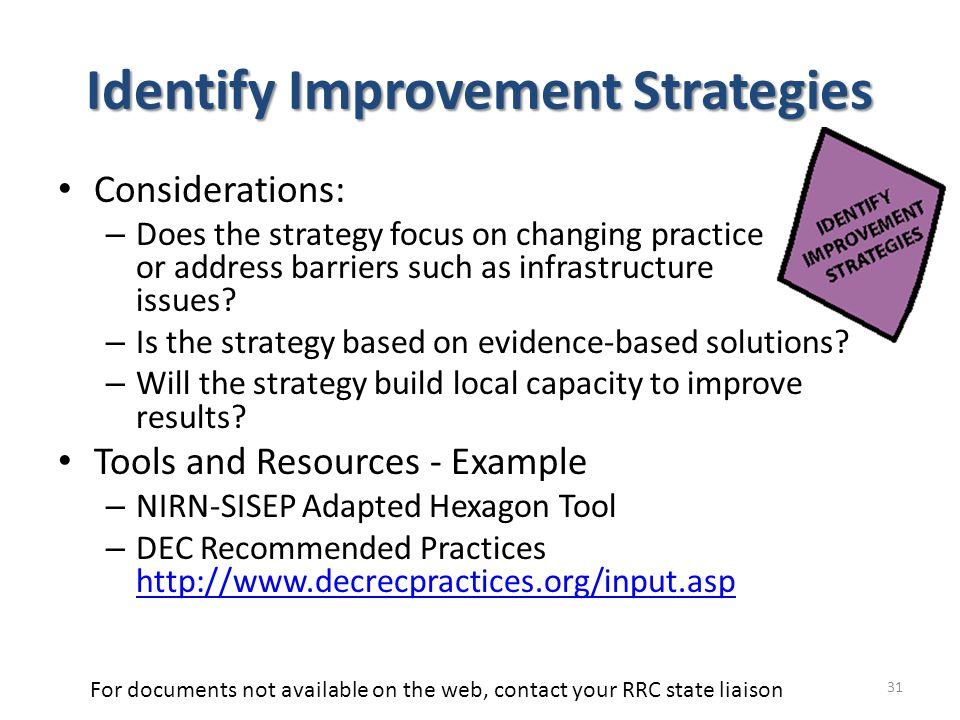 Identify Improvement Strategies