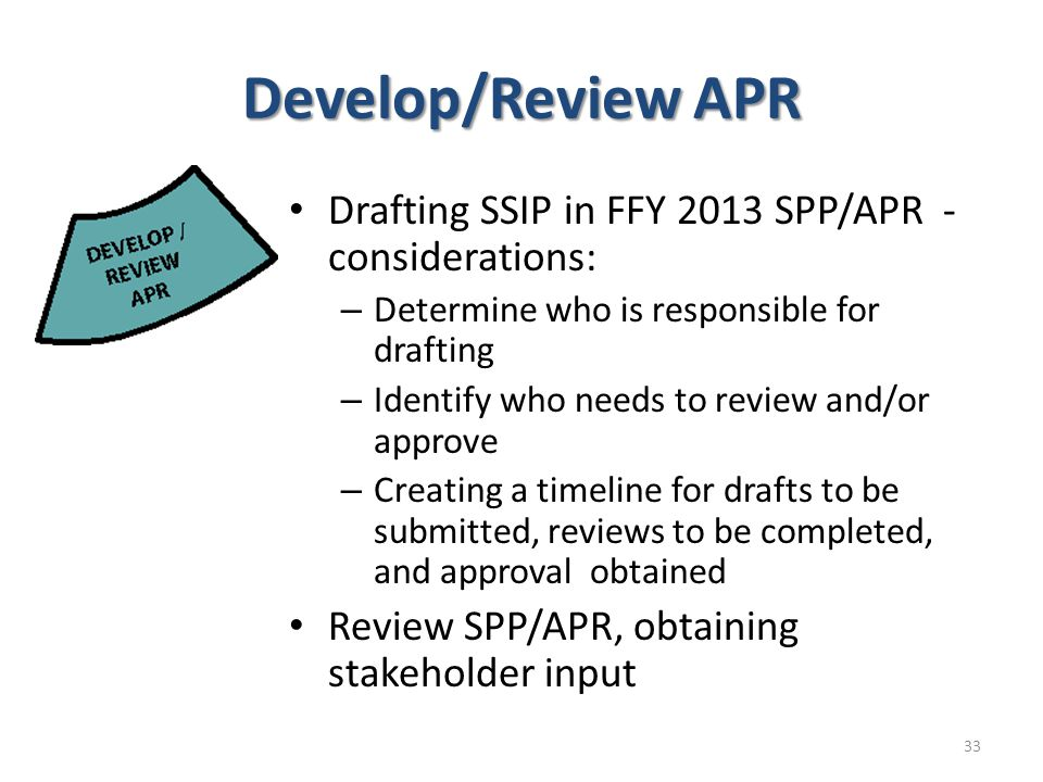 Develop/Review APR Drafting SSIP in FFY 2013 SPP/APR - considerations: