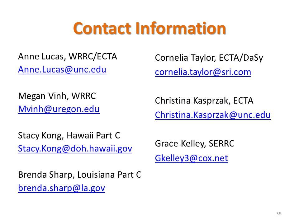 Contact Information Anne Lucas, WRRC/ECTA. Anne.Lucas@unc.edu. Megan Vinh, WRRC. Mvinh@uregon.edu.