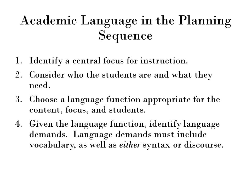 Academic Language in the Planning Sequence