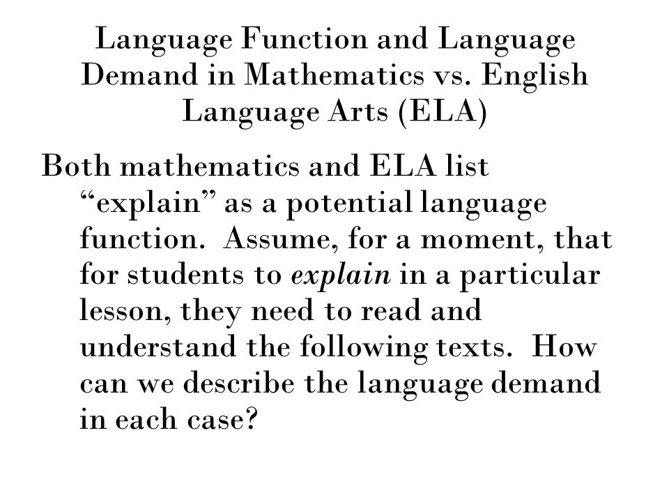 Language Function and Language Demand in Mathematics vs