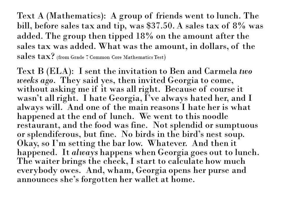 Text A (Mathematics): A group of friends went to lunch
