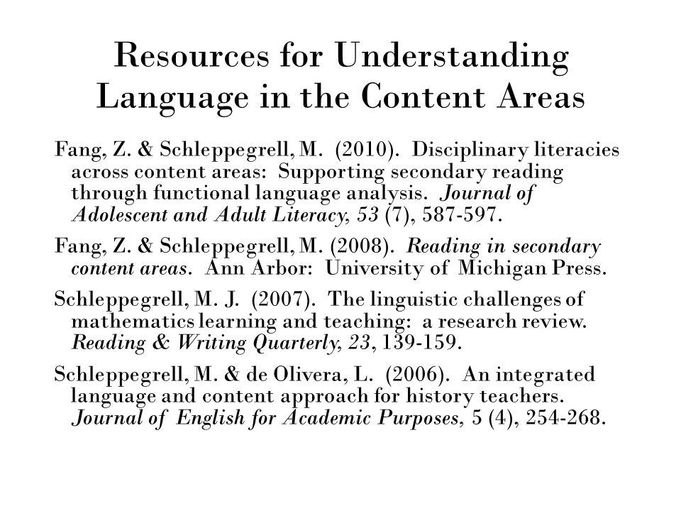 Resources for Understanding Language in the Content Areas