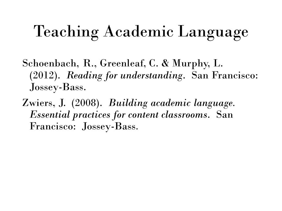 Teaching Academic Language