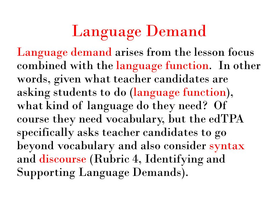 Language Demand