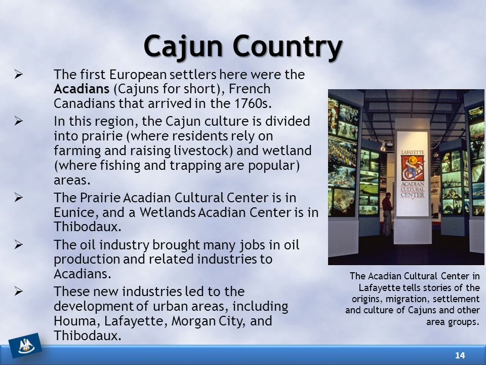 Cajun Country The first European settlers here were the Acadians (Cajuns for short), French Canadians that arrived in the 1760s.