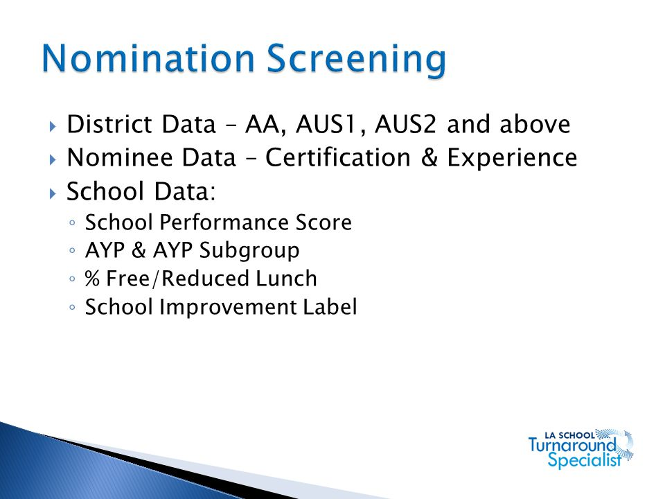 Nomination Screening District Data – AA, AUS1, AUS2 and above