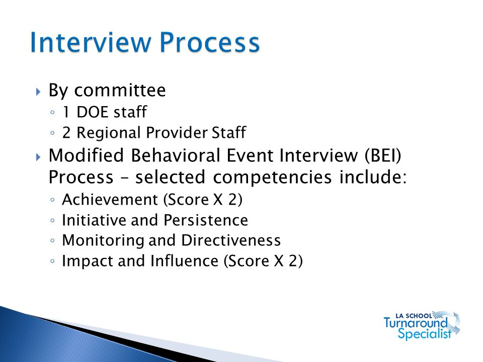 Interview Process By committee