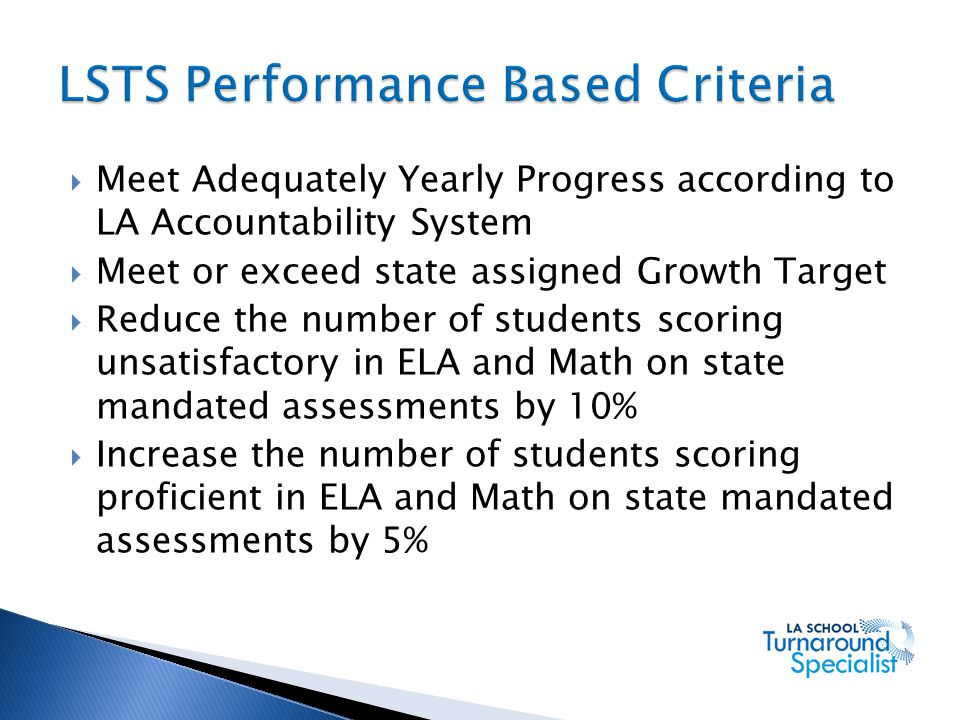 LSTS Performance Based Criteria