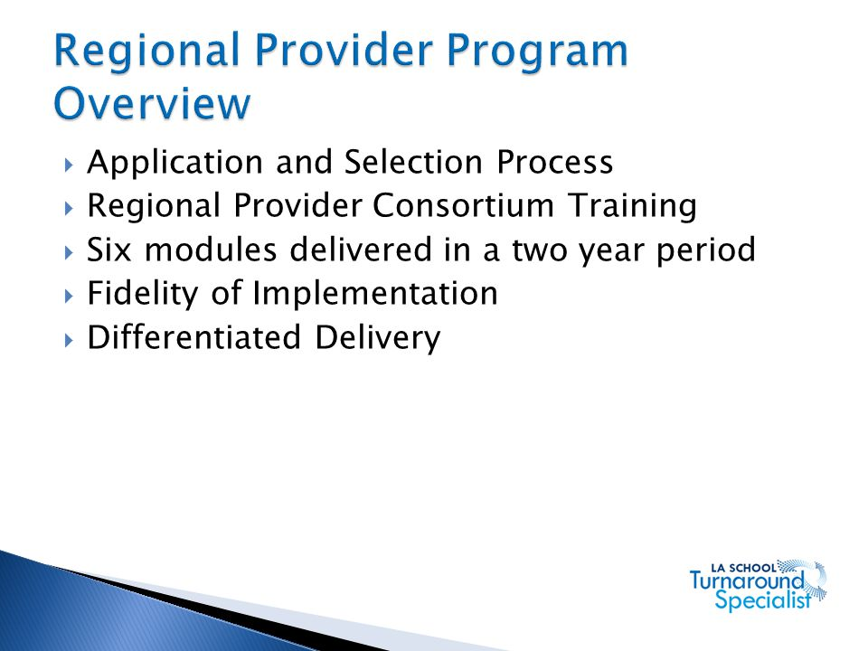 Regional Provider Program Overview