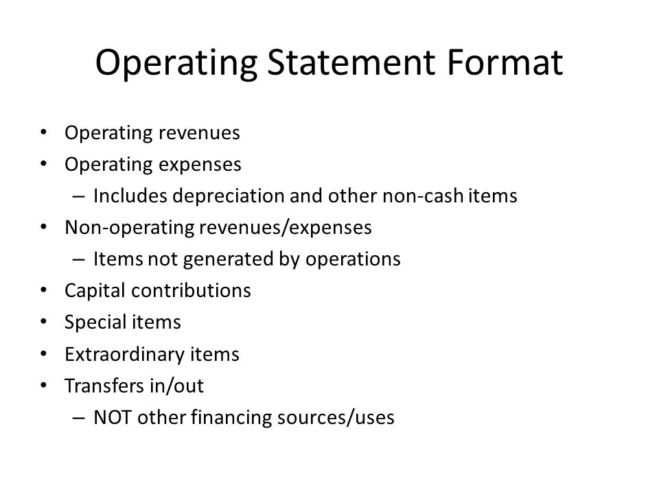 Operating Statement Format
