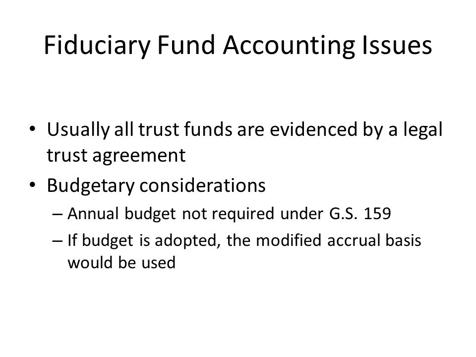 Fiduciary Fund Accounting Issues
