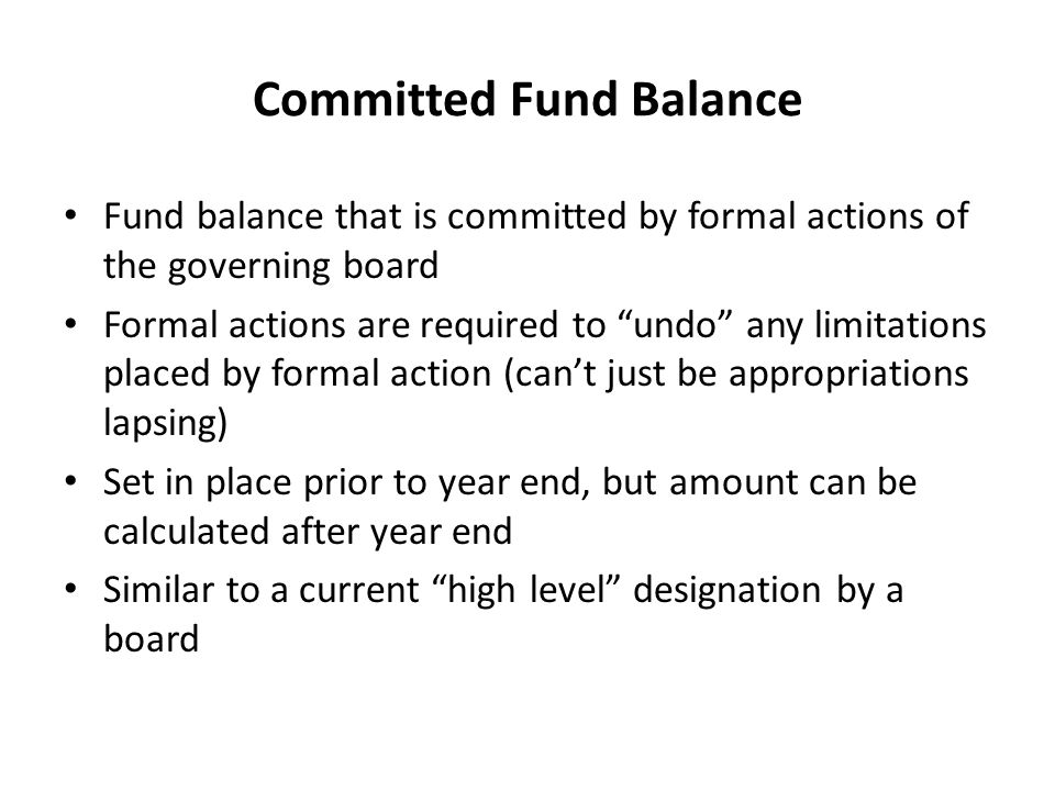 Committed Fund Balance
