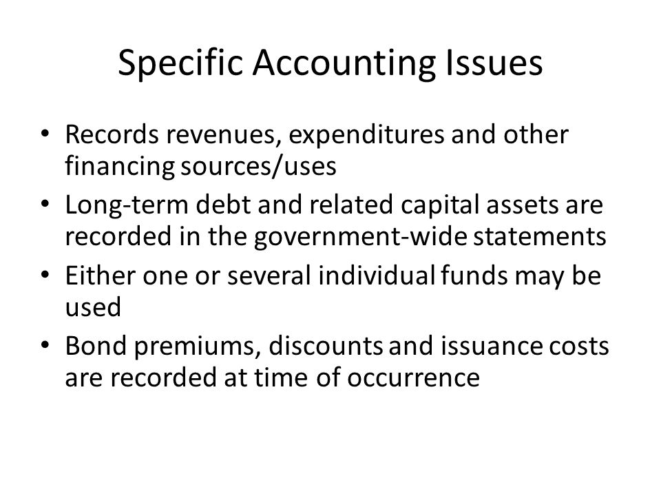 Specific Accounting Issues