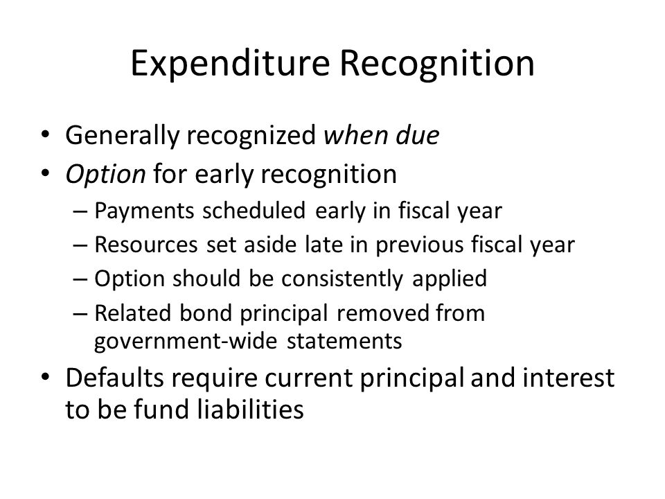 Expenditure Recognition