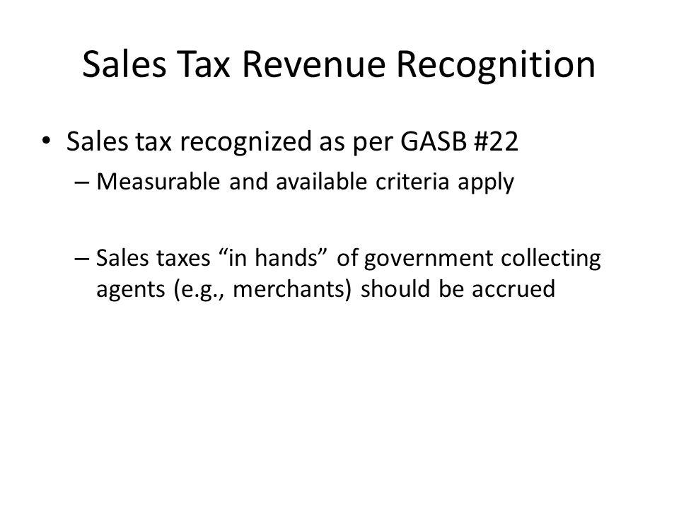 Sales Tax Revenue Recognition