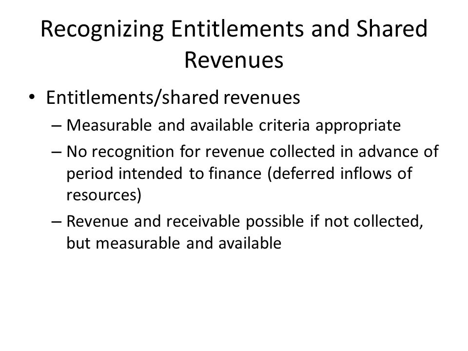 Recognizing Entitlements and Shared Revenues