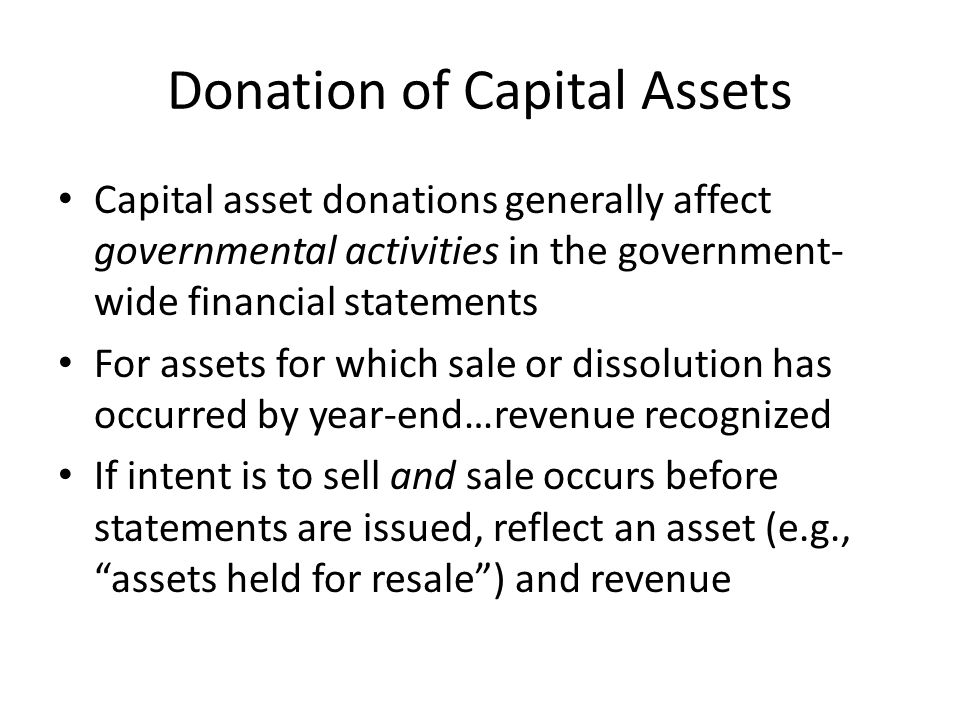 Donation of Capital Assets