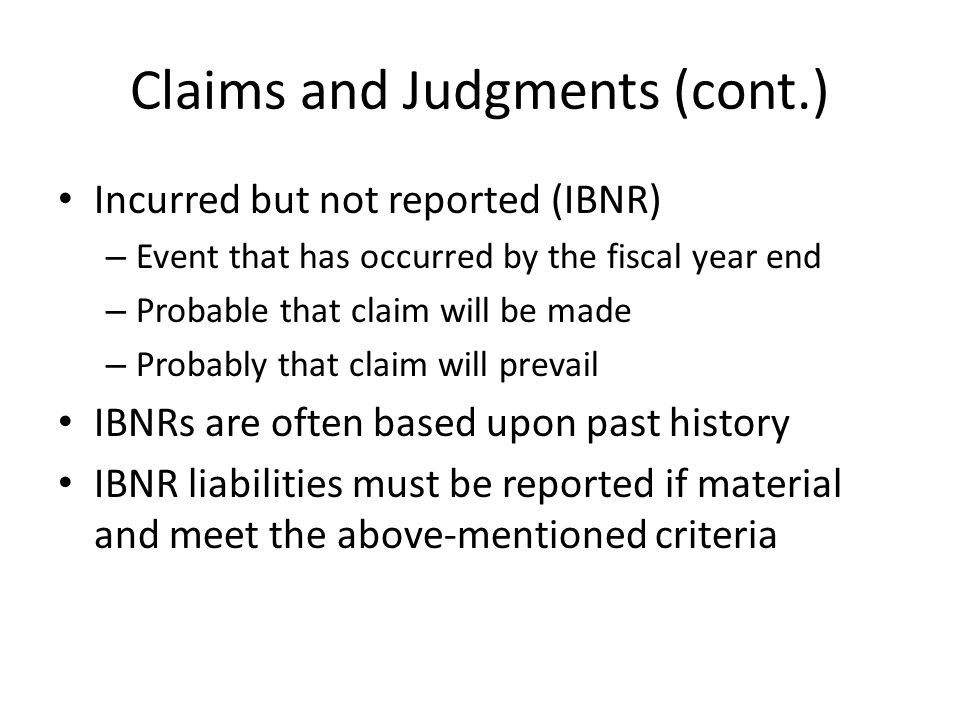 Claims and Judgments (cont.)