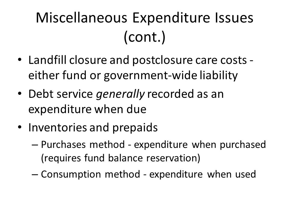 Miscellaneous Expenditure Issues (cont.)
