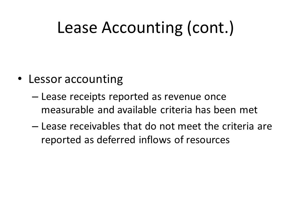 Lease Accounting (cont.)