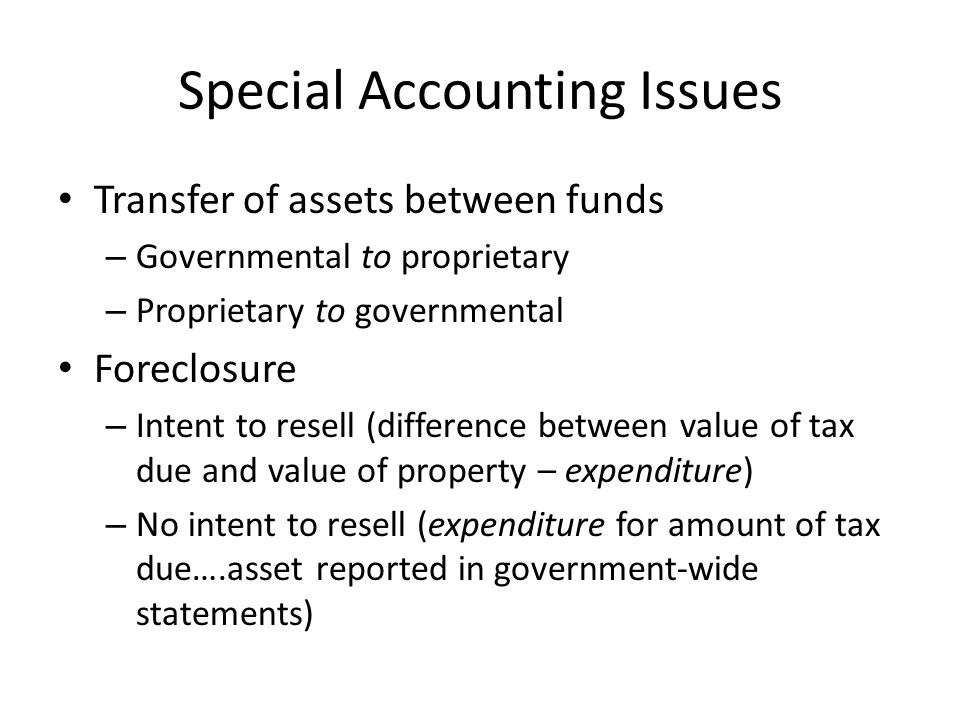 Special Accounting Issues