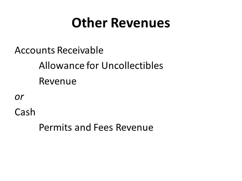 Other Revenues Accounts Receivable Allowance for Uncollectibles Revenue or Cash Permits and Fees Revenue