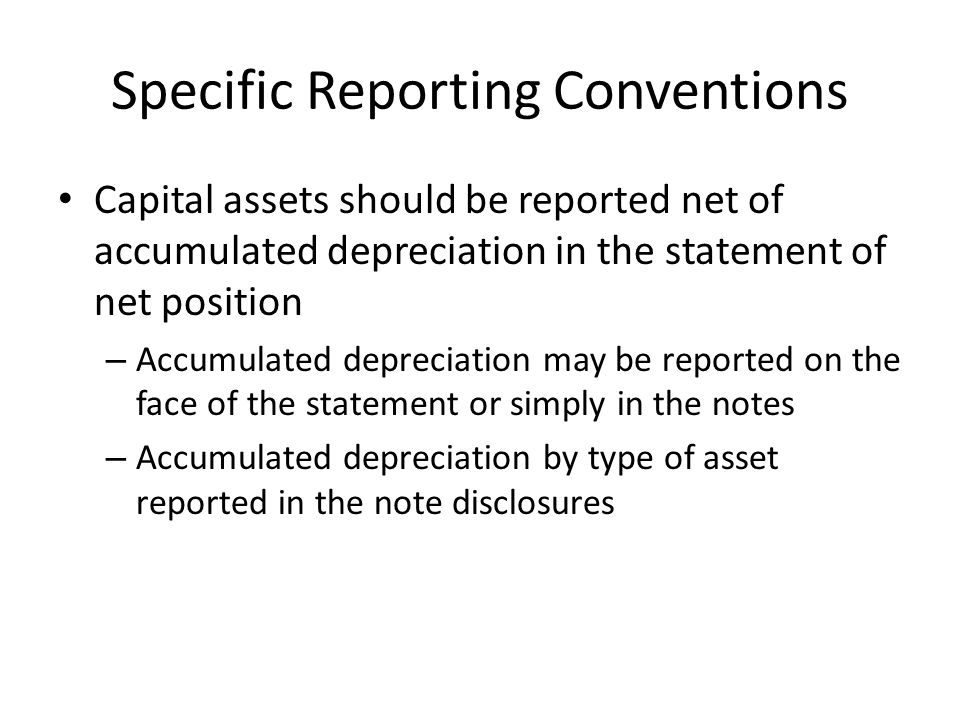 Specific Reporting Conventions
