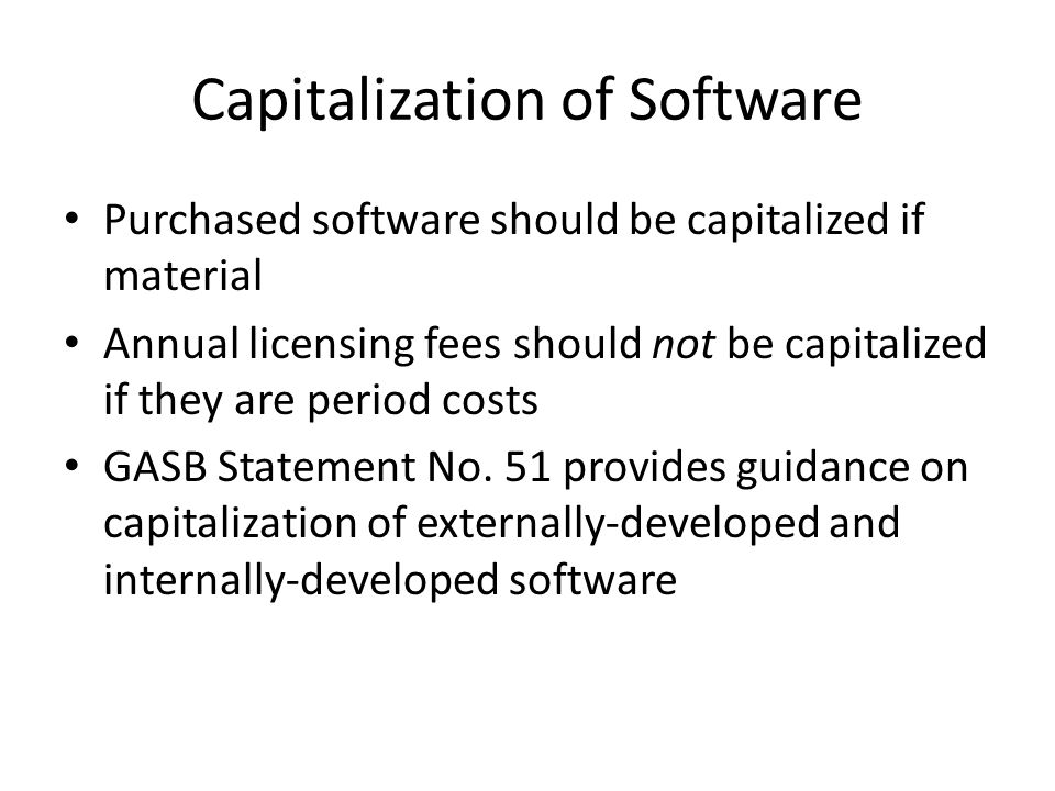 Capitalization of Software
