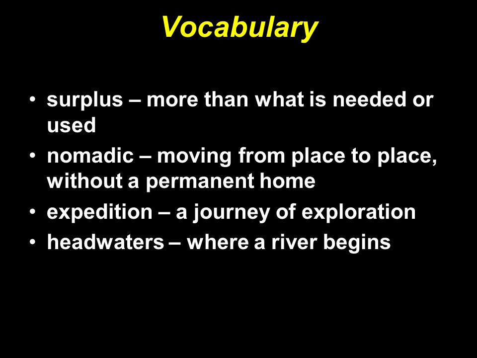 Vocabulary surplus – more than what is needed or used