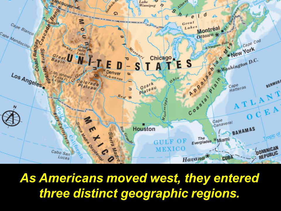 As Americans moved west, they entered three distinct geographic regions.