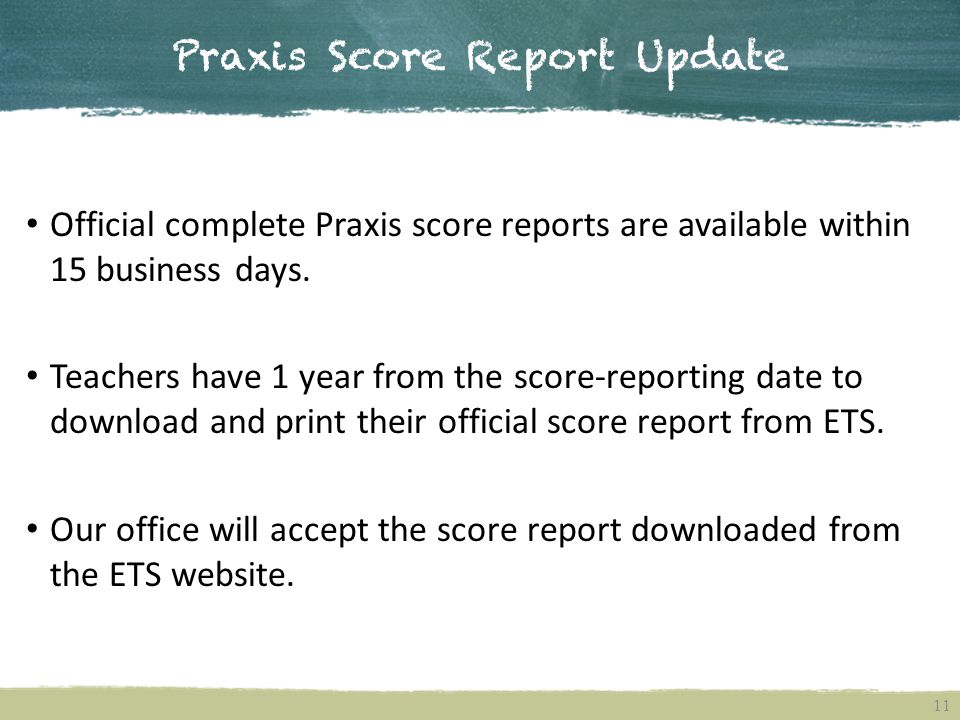 Praxis Score Report Update