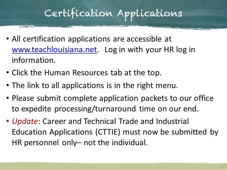 Certification Applications