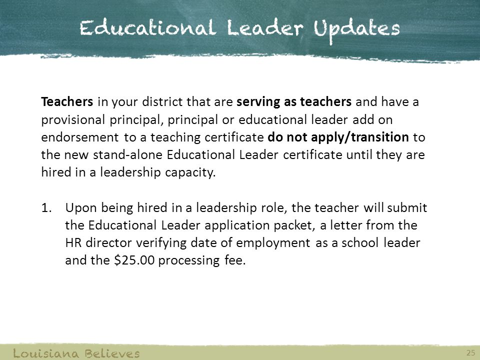 Educational Leader Updates