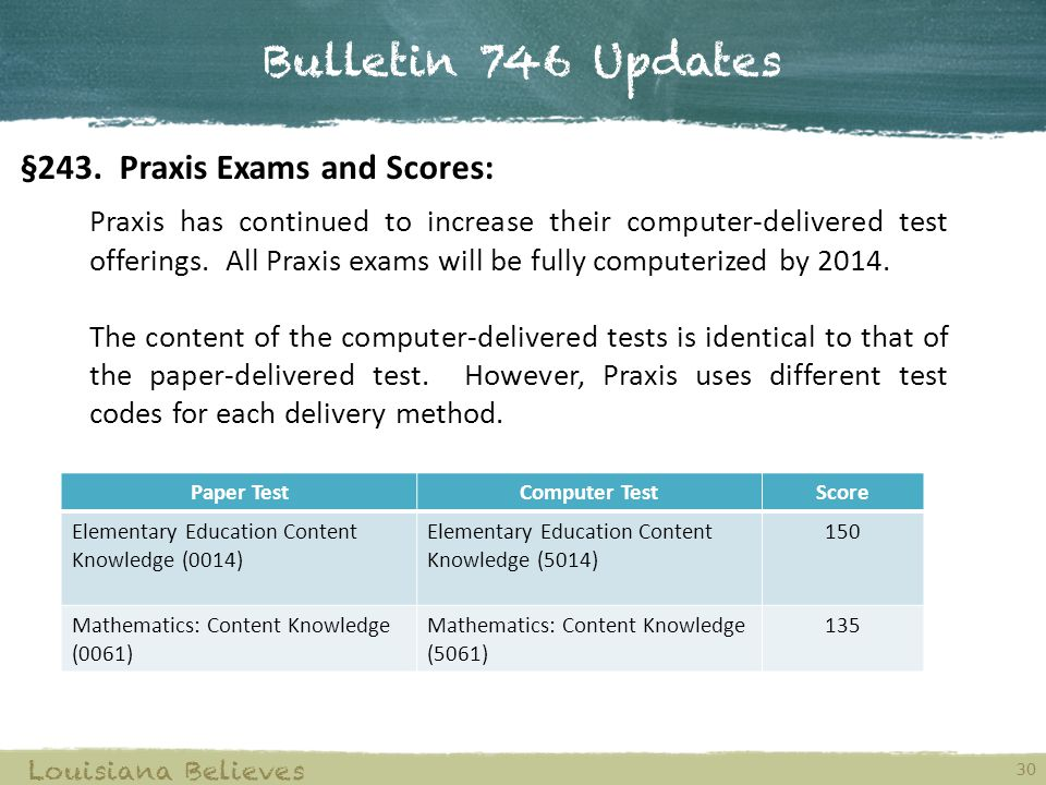 Bulletin 746 Updates §243. Praxis Exams and Scores: