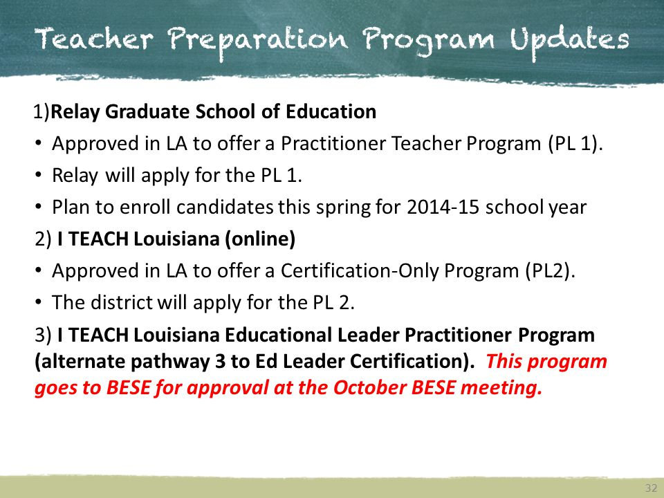 Teacher Preparation Program Updates