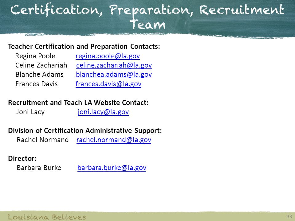 Certification, Preparation, Recruitment Team