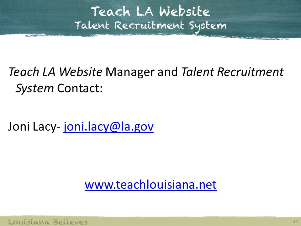 Teach LA Website Talent Recruitment System
