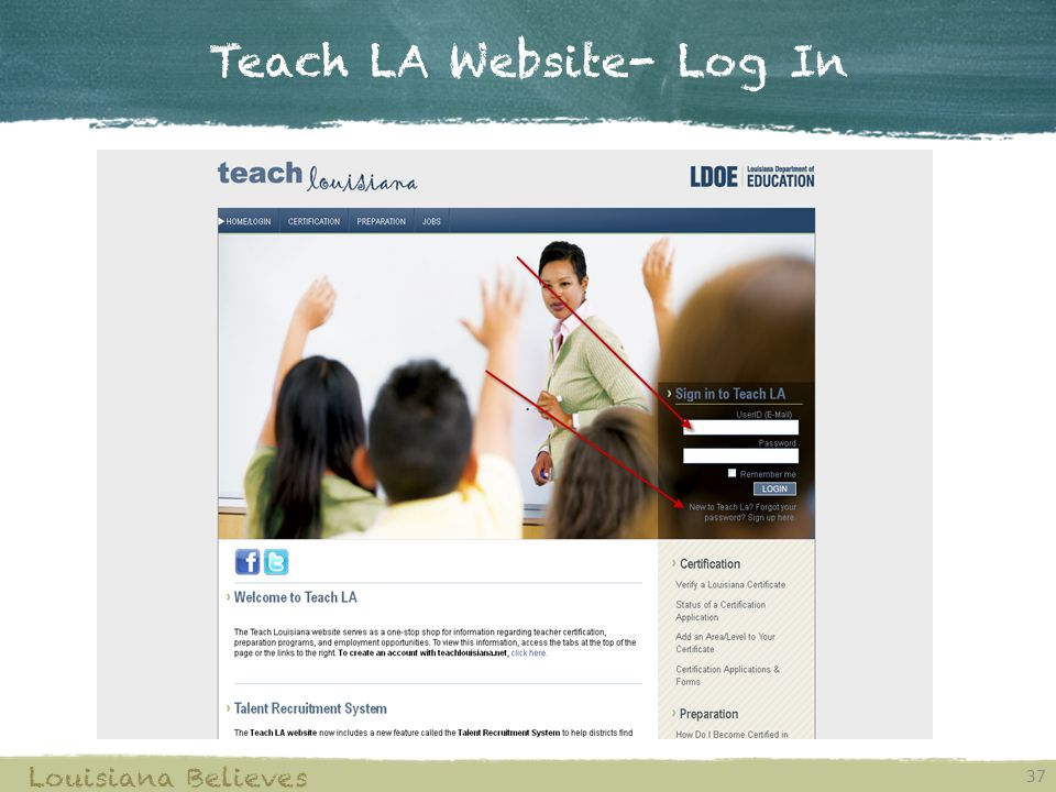 Teach LA Website- Log In