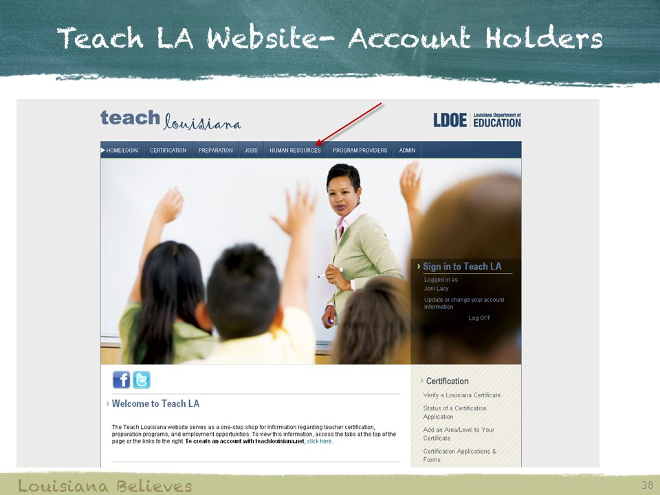 Teach LA Website- Account Holders