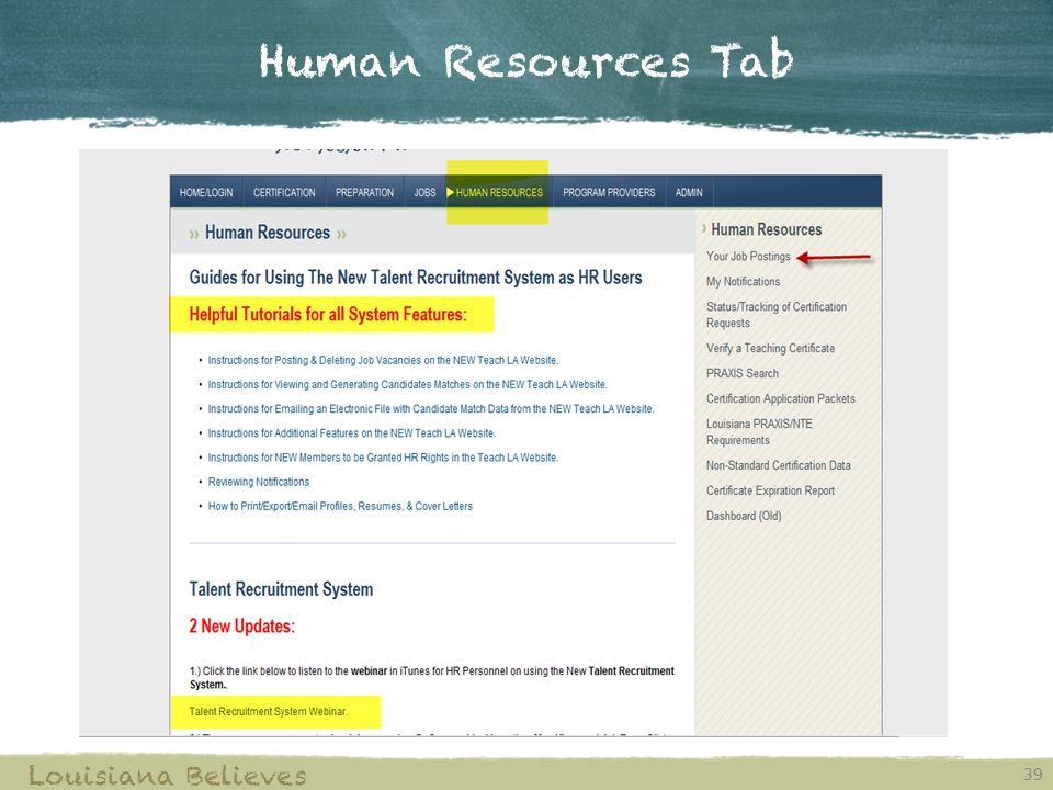 Human Resources Tab Louisiana Believes