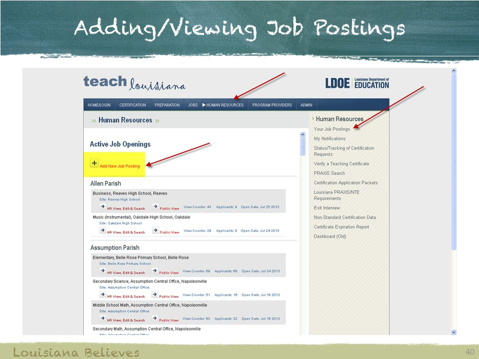 Adding/Viewing Job Postings